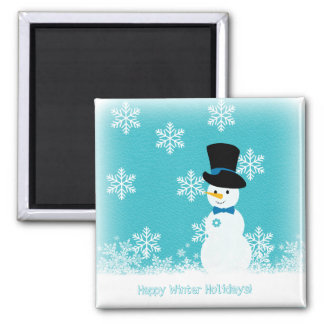 Blue white snowflakes and script funny snowman magnet