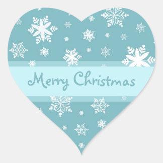 Blue White Snowflakes Merry Christmas Stickers