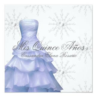 Blue White Snowflakes Quinceanera Personalized Announcement