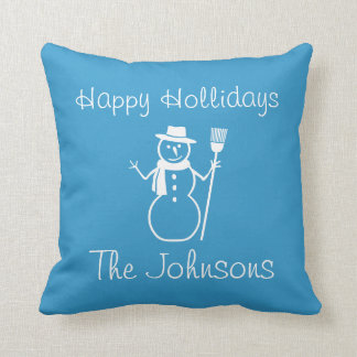 blue & white  snowman and christmas HAPPY HOLLIDAY Cushions