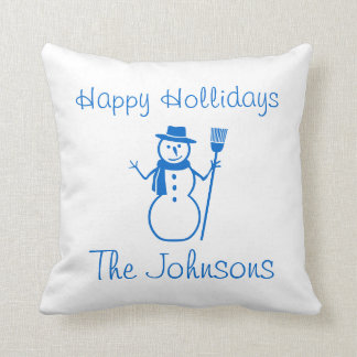 blue & white  snowman and HAPPY HOLLIDAY Throw Cushions