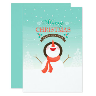 Blue White Snowman Christmas New Year Greetings Card
