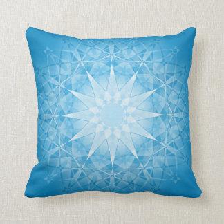 Blue White Star Geometric Pattern Cushion