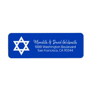 Blue White Star of David Bar Mitzvah Address Return Address Label