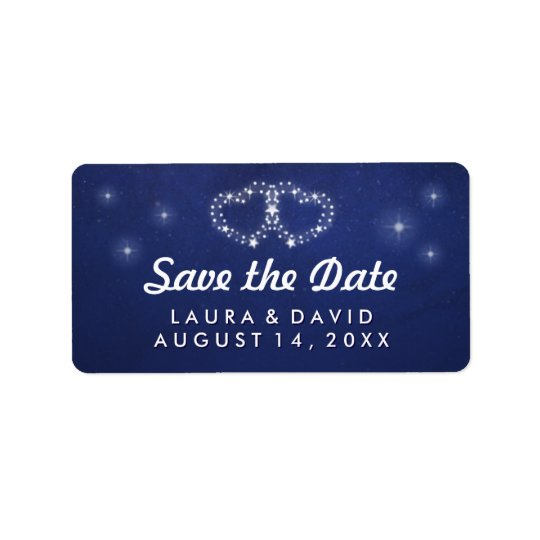 Blue & White Stars Hearts Matching Save the Date Label