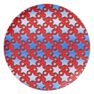 Blue White Stars on Red Dinner Plate