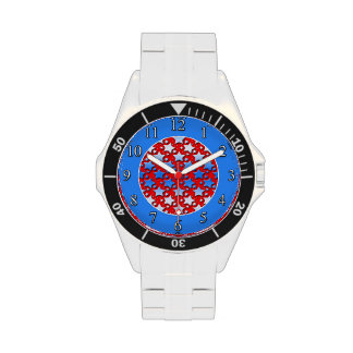 Blue White Stars on Red Wristwatches