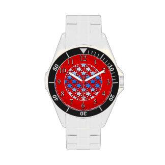 Blue White Stars on Red Watch