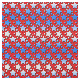 Blue White Stars on Red Fabric