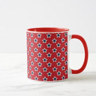 Blue & White Stars on Red Mug