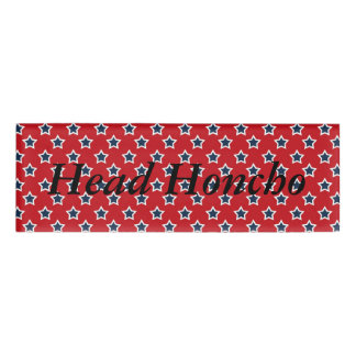 Blue & White Stars on Red Name Tag