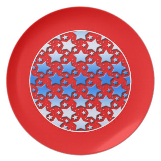 Blue White Stars on Red Party Plates