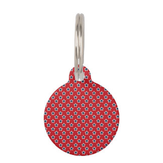 Blue & White Stars on Red Pet Name Tags