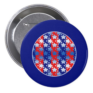 Blue White Stars Red Blue Stripes Buttons