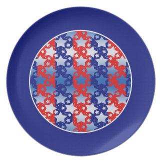 Blue White Stars Red Blue Stripes Dinner Plates