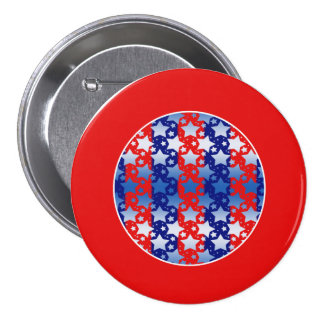 Blue White Stars Red Blue Stripes Pinback Buttons
