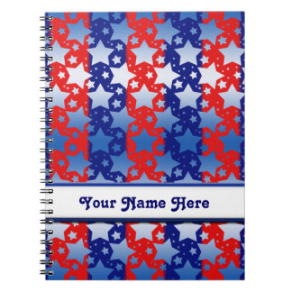 Blue White Stars Red Blue Stripes Spiral Notebook