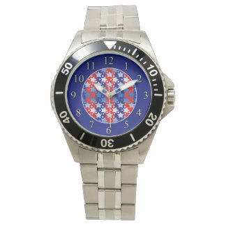 Blue White Stars Red Blue Stripes Wristwatches