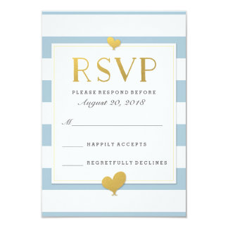 Blue & White Stripe Baby Boy Shower Gold Rsvp Card