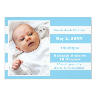 Blue & White Stripe - Birth Announcement