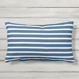 Blue White Stripe Classic Nautical Design Lumbar Cushion