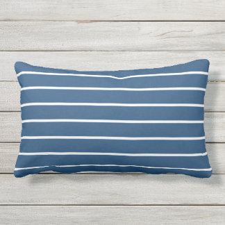 Blue White Stripe Classic Nautical Design Outdoor Cushion
