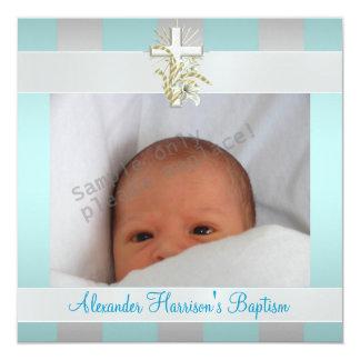 Blue White Stripe Photo Cross Baptism Christening Invites