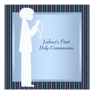Blue White Stripe Rosary Boys First Communion Card