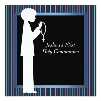 Blue White Stripe Rosary Boys First Communion Card