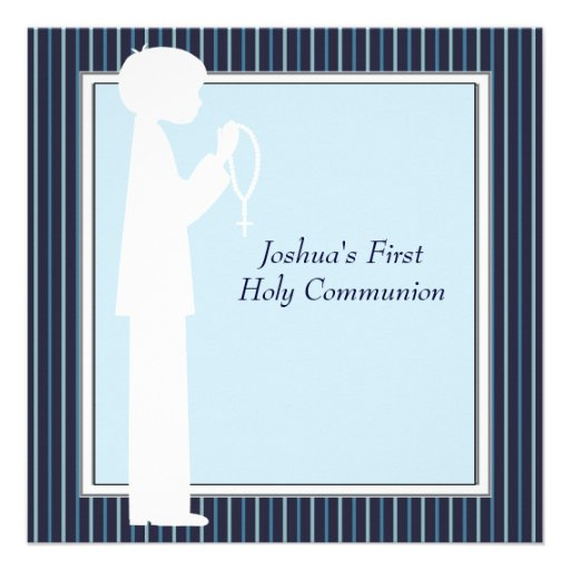 Blue White Stripe Rosary Boys First Communion Personalized Invitations