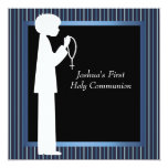 Blue White Stripe Rosary Boys First Communion 13 Cm X 13 Cm Square Invitation Card