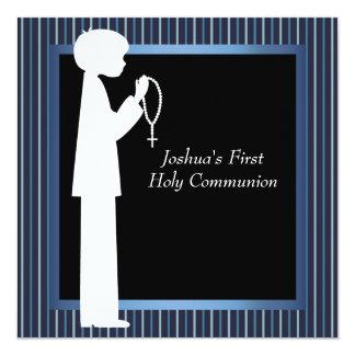 Blue White Stripe Rosary Boys First Communion Invite