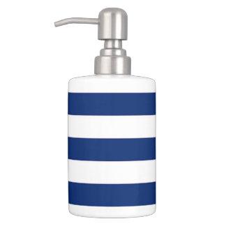 Blue White Stripe Soap Dispenser
