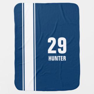 Blue & White Striped Sports Jersey Baby Blanket