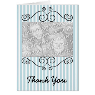 Blue & White Striped Vintage Photo Thank You Card