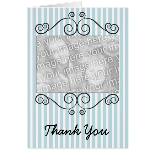 Blue & White Striped Vintage Photo Thank You Card