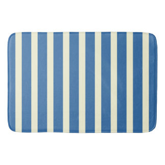 Blue white stripes bath mat