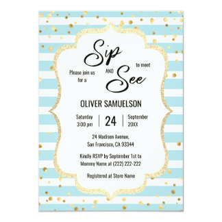 Blue White Stripes Gold Black BABY SIP and SEE Card