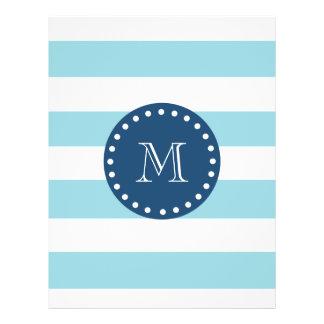 Blue White Stripes Pattern, Navy Blue Monogram 21.5 Cm X 28 Cm Flyer