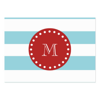 Blue White Stripes Pattern, Red Monogram Business Card Templates