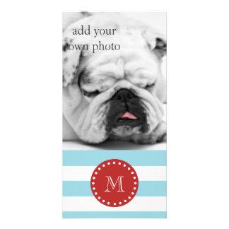 Blue White Stripes Pattern, Red Monogram Photo Greeting Card