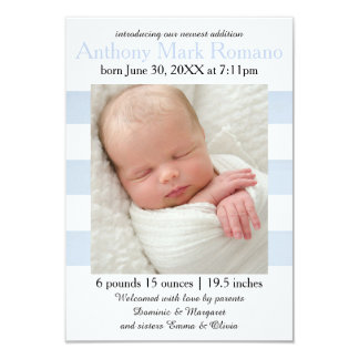 Blue/White Stripes Photo - 3x5 Birth Announcement