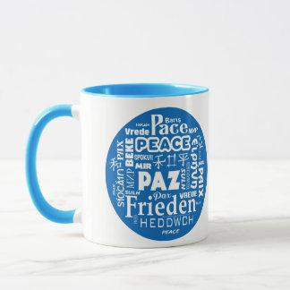 Blue/white styled mug peace in multiple languages
