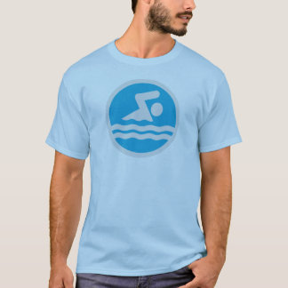 Blue & White Swim T-shirt for Swimmers or Coaches