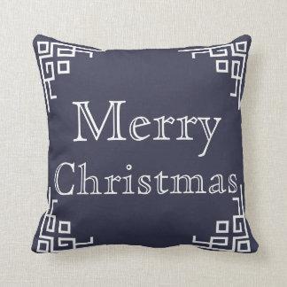 Blue & White Swirl Merry Christmas Throw Pillow