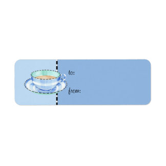 Blue White Teacup blue small Gift Tag Return Address Label