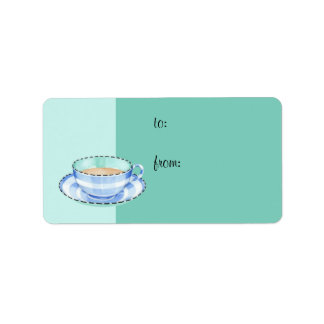 Blue White Teacup green Gift Tag Address Label