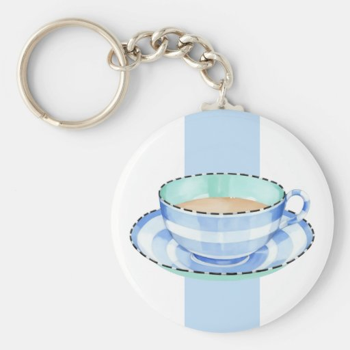 Blue White Teacup white blue Keychain