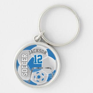 Blue & White Team Soccer Ball Key Ring