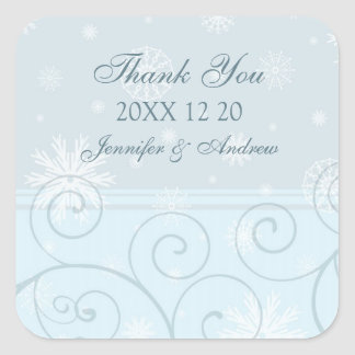 Blue White Thank You Winter Wedding Stickers